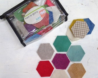 In the Patch...wool hex-a-gons...1 1/4 inch...36 total laser cut hexagons...light/bright pack