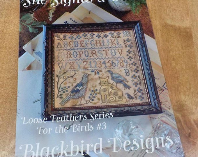 She Sights a Bird, Loose Feathers Series For the Birds #3, by Blackbird Designs...cross-stitch design