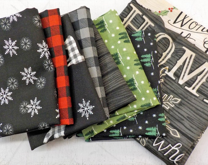Holiday Lodge bundle...7 fat quarters and charcoal panel...designed by Deb Strain...exclusive grouping