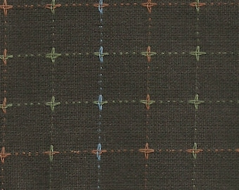 Nikko-3780, chocolate brown with cross stitches, by Diamond Textiles
