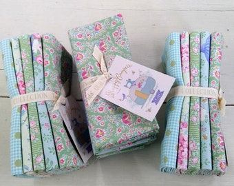Happy Campers Teal and Green...5 fat quarters...a Tilda Collection designed by Tone Finnanger
