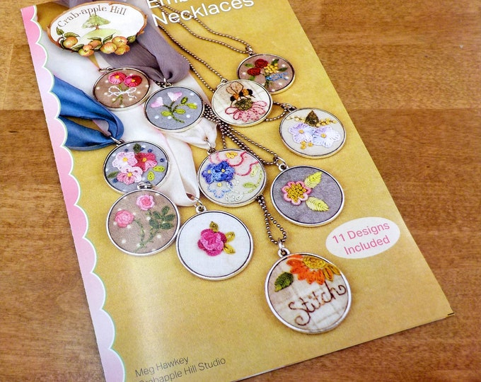 Embroidery Necklaces pattern by Meg Hawkey of Crabapple Hill Studio