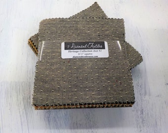 Heritage Collection Assortment #1...charm pack...5 inch squares...31 squares...Diamond Textile Wovens