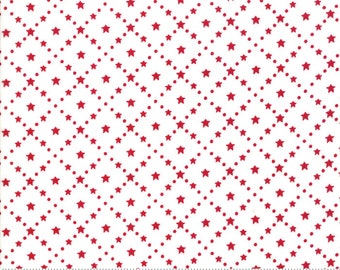 LAST ONE YARD...Merry Merry Snow Days Snow Red 2947 16 designed by Bunny Hill Designs for Moda Fabrics