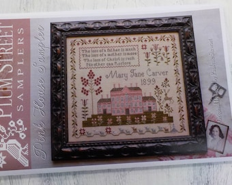 Pink House Sampler by Plum Street Samplers...cross stitch pattern, house cross stitch