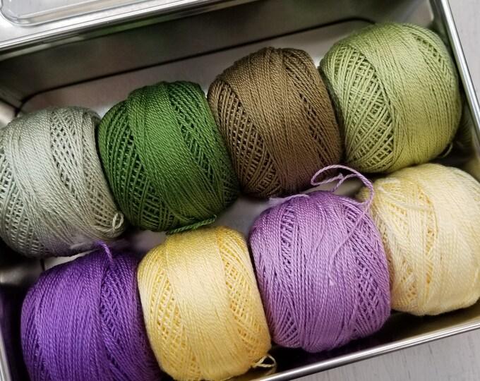 Pansy thread box...featuring 8 DMC perle cotton balls...no 8