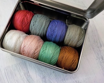 Tilda's Bon Voyage-Inspired thread box...featuring 8 DMC perle cotton balls...no 8