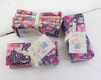 Gardenlife Lilac and Coral fat quarter bundle...a Tilda Collection designed by Tone Finnanger, 5 fat quarters Tilda lilac and coral