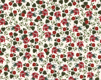 Yuletide Poinsettias Cream C9632-CREAM by My Mind's Eye for Riley Blake Designs...christmas, classic christmas