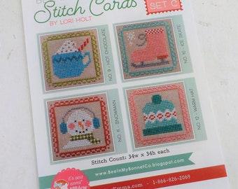 Bee in My Bonnet Stitch Cards, Set C by Lori Holt of Bee in My Bonnet, cross stitch pattern, it's sew emma stitchery