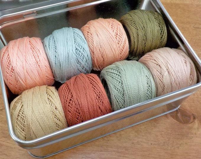 Chantilly-Inspired thread box...featuring 8 DMC perle cotton balls...no 8