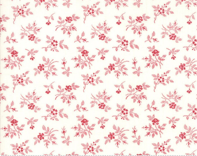My Redwork Garden Cream Red 2956 13 designed by Bunny Hill Designs for Moda Fabrics