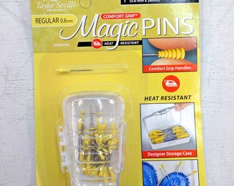 Magic Pins, Taylor Seville Originals...applique pins, regular, .6mm x 26mm, 50 pins, comfort grip, heat resistant, designer storage case