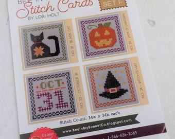 Bee in My Bonnet Stitch Cards, Set F by Lori Holt of Bee in My Bonnet, cross stitch pattern, it's sew emma stitchery