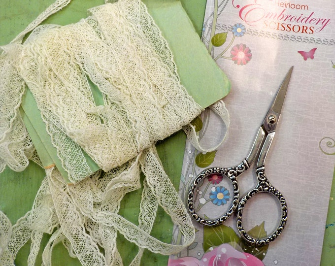 Heirloom Embroidery Scissors...Sullivans...4 inch length, stainless steel, embellished silver