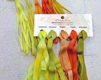 Autumn Blaze ribbon set...Gibb & Hiney, hand-dyed silk ribbon, 5 colors, 2 widths