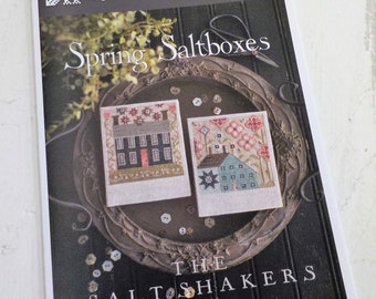 Spring Saltboxes, The Salt Shakers by Plum Street Samplers...cross stitch pattern, spring cross stitch, easter cross stitch, rabbit