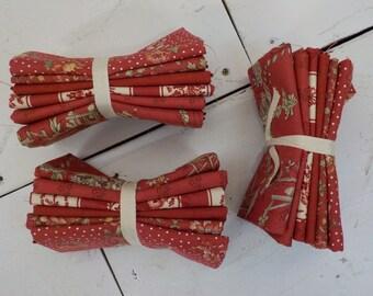 Jardin De Fleurs Rouge fat quarter bundle by French General for Moda Fabrics, 6 fat quarters