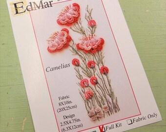 Camelias...EdMar 1702 project...Brazilian embroidery