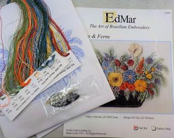 Flowers & Ferns...EdMar kit #1030...Brazilian embroidery
