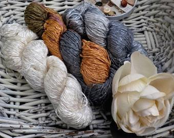 Autumn Fog...3 skein bundle...Araucania Yarns...Alumco...Hand-painted Cotton Viscose Blend