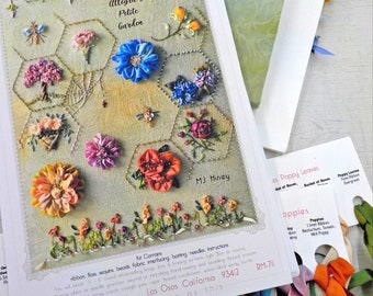 Allegra's Petite Garden by MJ Hiney...the Ribbon Muse...complete kit including beads and sequins with instructions