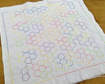 Sashiko World, America, Grandmother's Flower Garden Embroidery starter kit by Tuilip...preprinted fabric, thread, needle
