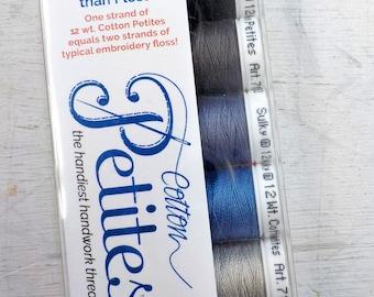 Black and Gray Cotton Petites, the handiest handwork thread, Sulky thread, 6 colors, 12 wt thread