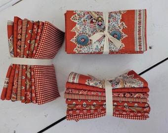 Ladies' Legacy Cooper Red fat quarter bundle by Barbara Brackman for Moda Fabrics, 8 fat quarters