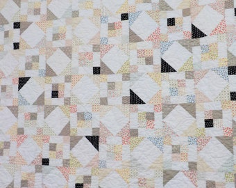 Summer Breeze quilt kit pattern designed by Mickey Zimmer, low volume, romantic quilt kit, fig tree quilt kit, white, black and grey kit