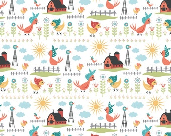 Chick-A-Doodle Doo white rise and shine CD21714 by Poppie Cotton
