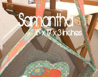 PDF Samantha Tote pattern using mesh screening designed by Mickey Zimmer for Sweetwater Cotton Shoppe