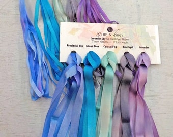 Lavender Sky ribbon set...Gibb & Hiney, hand-dyed silk ribbon, 5 colors, 2 widths