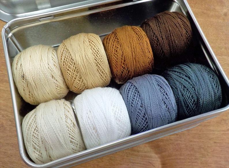 Neutrals thread box...featuring 8 DMC perle cotton balls...no 8