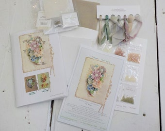 Flower Therapy Needlebook kit, Barely There Color Palette, by MJ Hiney...the Ribbon Muse...complete kit with instructions