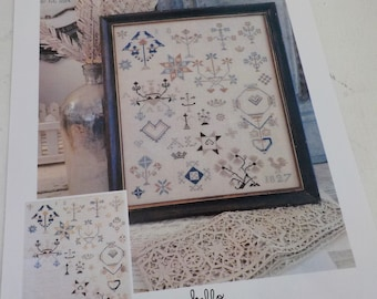 A. L. Motif Sampler, a cross stitch pattern, by hello from Liz Mathews, cross stitch, blue and cream