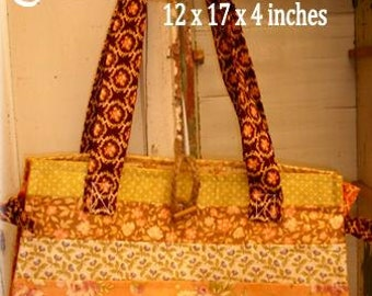 PDF Constance bag pattern using Fig Tree by Mickey Zimmer for Sweetwater Cotton Shoppe