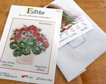Geraniums...EdMar 1421 project...Brazilian embroidery