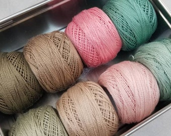Rue 1800-Inspired thread box...featuring 8 DMC perle cotton balls...no 8