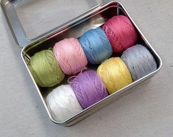 Finnegan-Inspired thread box...featuring 8 DMC perle cotton balls...no 8