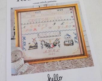 Red R Sampler, a cross stitch pattern, by hello from Liz Mathews, cross stitch, sampler, alphabet sampler, motif sampler