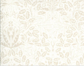 Dover Acorn Damask Linen White 18701 11 by Brenda Riddle for Moda Fabrics