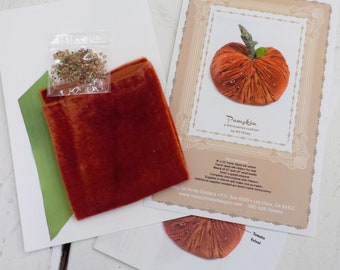 Pumpkin, a diminutive cushion by MJ Hiney...the Ribbon Muse...complete fabric and ribbon kit with instructions, tomato velvet
