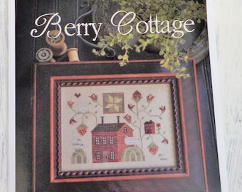 Berry Cottage by Plum Street Samplers...cross stitch pattern, house cross stitch