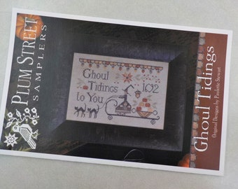 Ghoul Tidings by Plum Street Samplers...cross stitch pattern, Halloween cross stitch, witch, autumn