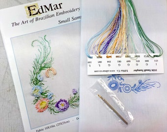 Small Sampler...EdMar 1036 project...Brazilian embroidery kit...diy embroidery kit