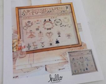 Grain Sack Sampler, a cross stitch pattern, by hello from Liz Mathews, cross stitch, sampler, alphabet sampler, motif sampler