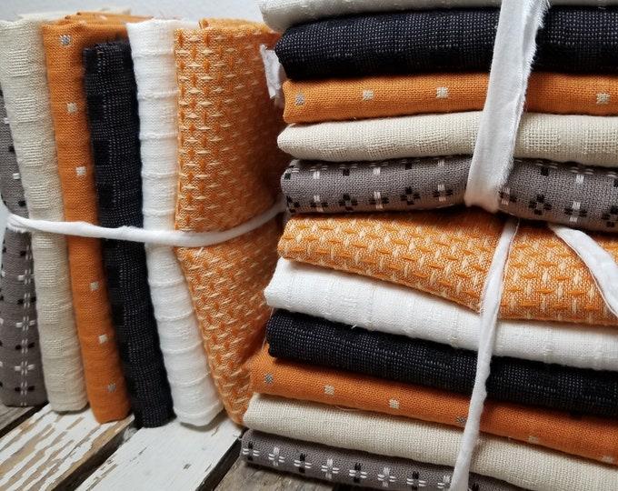 Featured listing image: Classic Pumpkins, Fat Quarter bundle, exclusive grouping of Diamond Textile Wovens, 6 fat quarters, cream, orange, grey, black, halloween