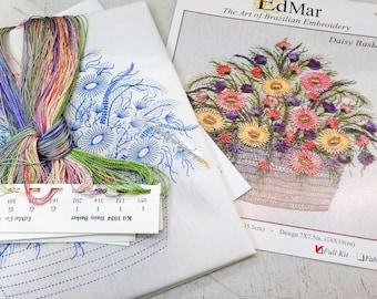 Daisy Basket...EdMar 1034 project...Brazilian embroidery kit...diy embroidery kit