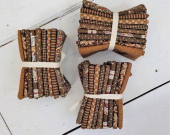 Ladies' Legacy Yankee Chocolate and Ledger Brown  fat quarters by Barbara Brackman for Moda Fabrics, 9 fat quarters